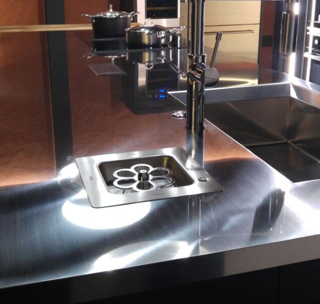 Vortex SBI built-in on stainless steel worktop